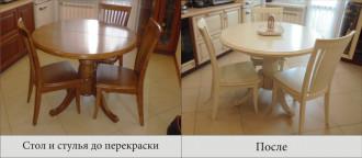 Перекраска стола и стульев под цвет кухни.