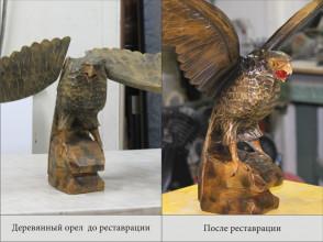 Реставрация, склейка деревянного орла.
