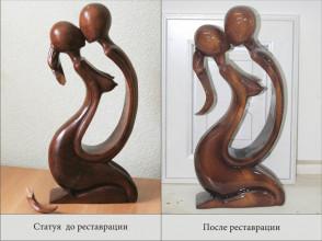Реставрация, склейка деревянной статуи.
