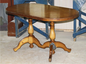 Реставрация  овального стола из массив березы.